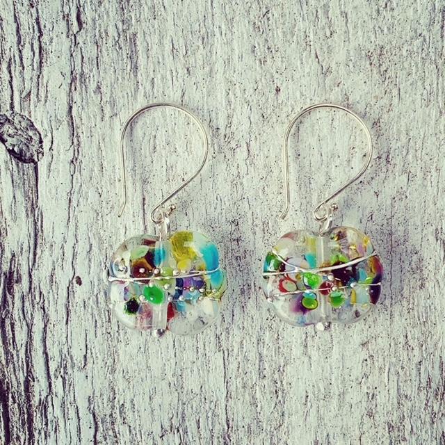 colourful glass earrings