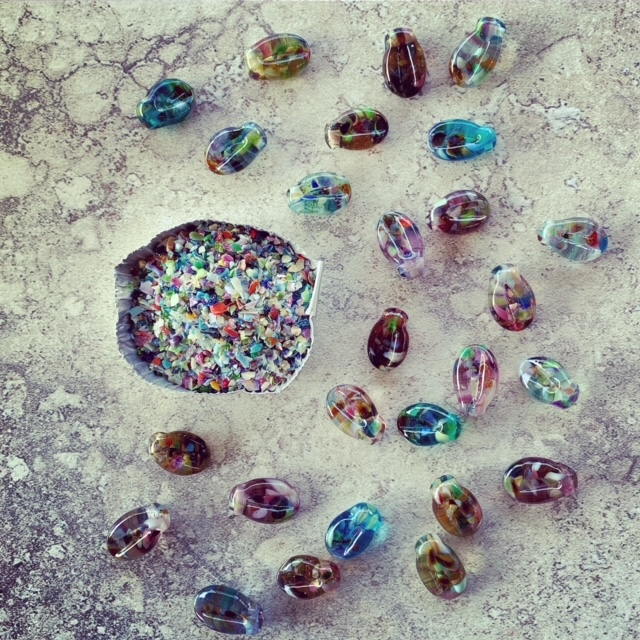 Glass Leaf beads