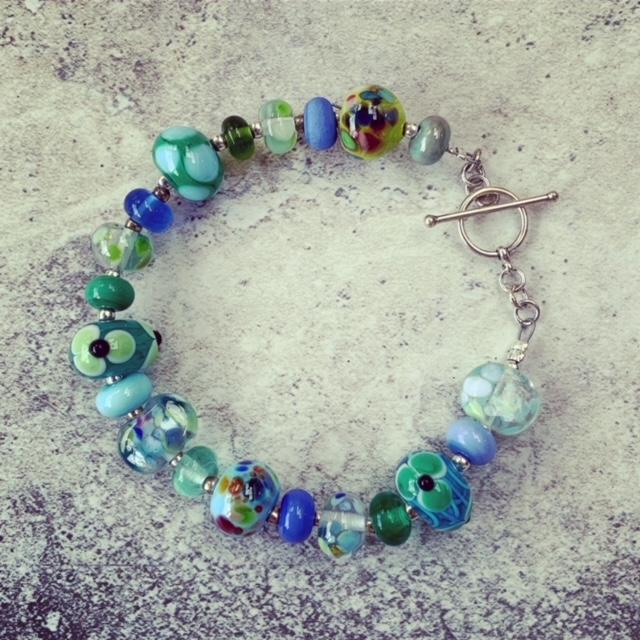 Blue and green glass bead bracelet