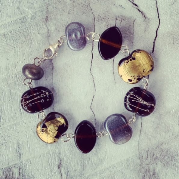 gold and silver recycled glass bead bracelet