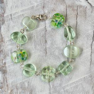 green depression glass bracelet