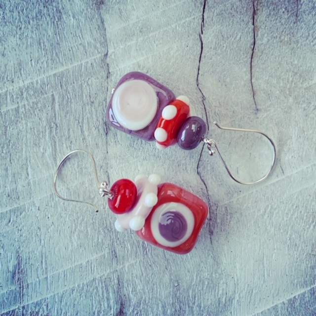 mismatched glass earrings