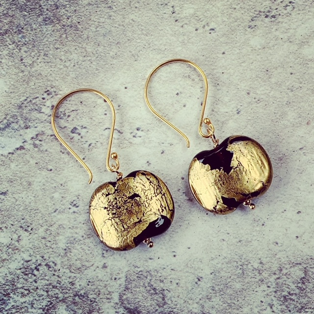 gold recycled glass earrings