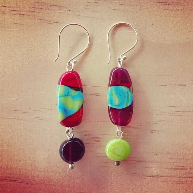 mismatched glass bead earrings