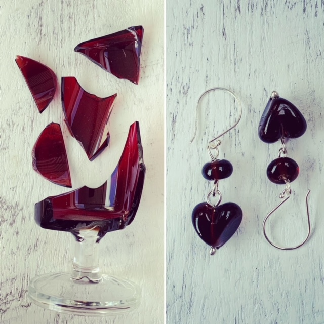 red recycled glass bead earrings