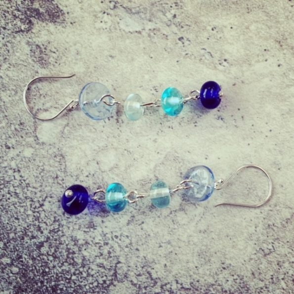 long blue recycled glass earrings