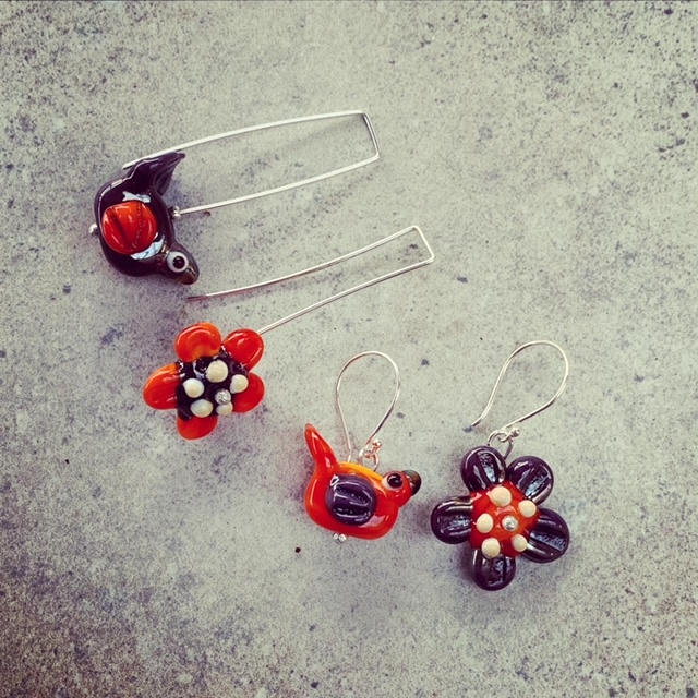 orange/purple bird flower earrings