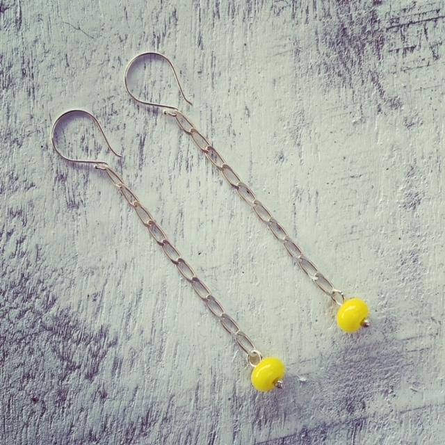 yellow chain earrings