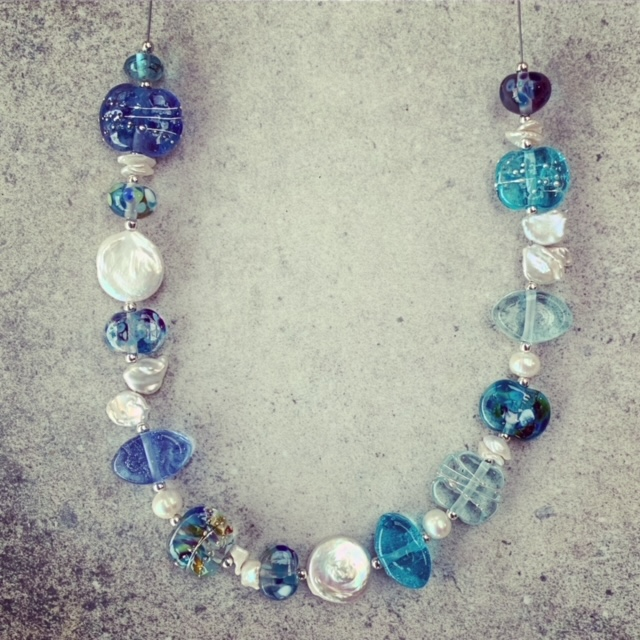 Blue Recycled Glass Bead and Pearl necklace