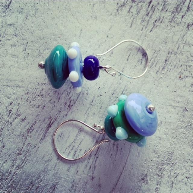 blue green bead earrings
