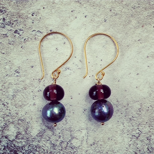 Hendrick's Midsummer Solstice Recycled Glass Bead and Pearl Earrings