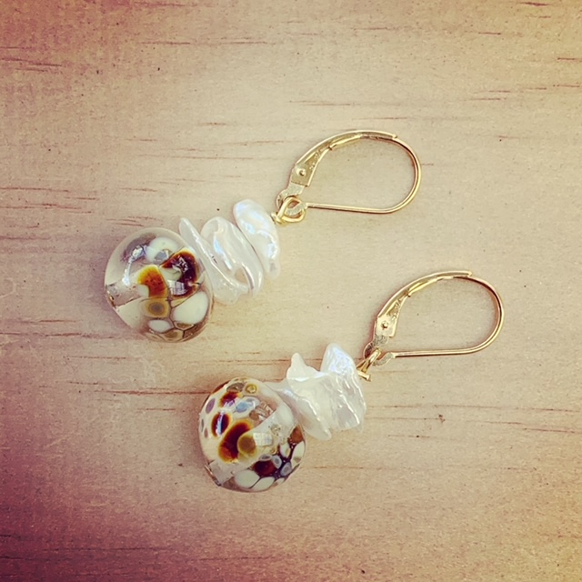 gold pearl and recycled glass earrings
