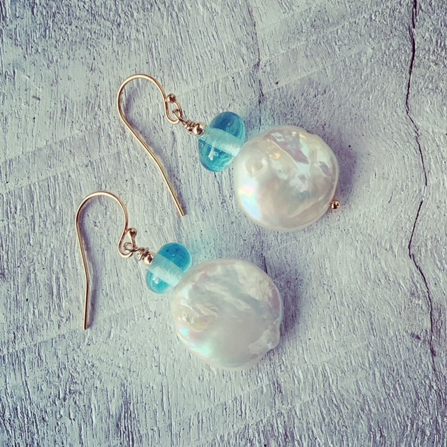 recycled glass bead and pearl earrings