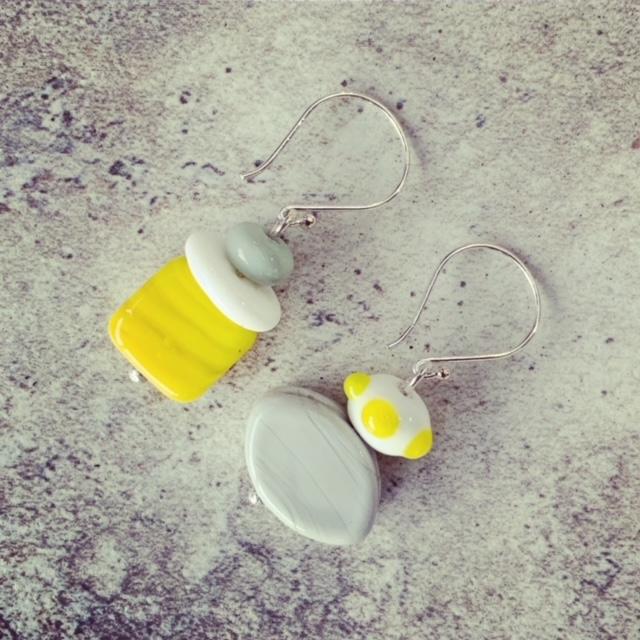 Yellow and grey bead earrings