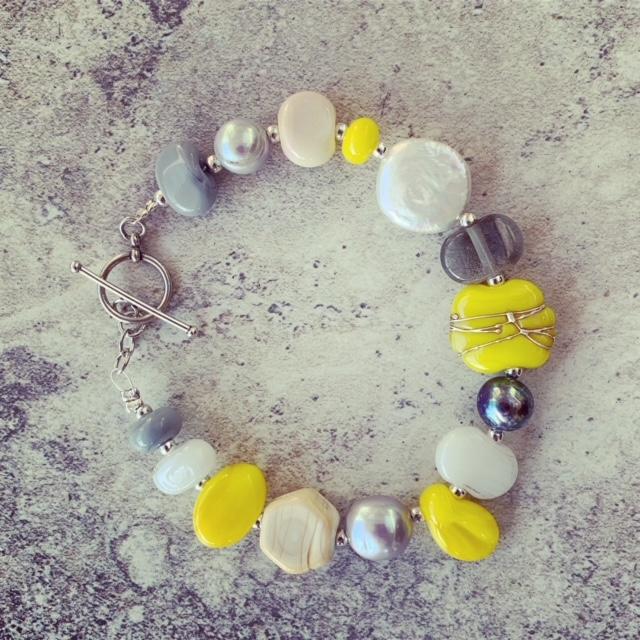 yellow grey bead bracelet