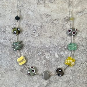 earthy neutral glass necklace