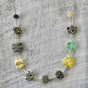Earthy neutral glass bead necklace