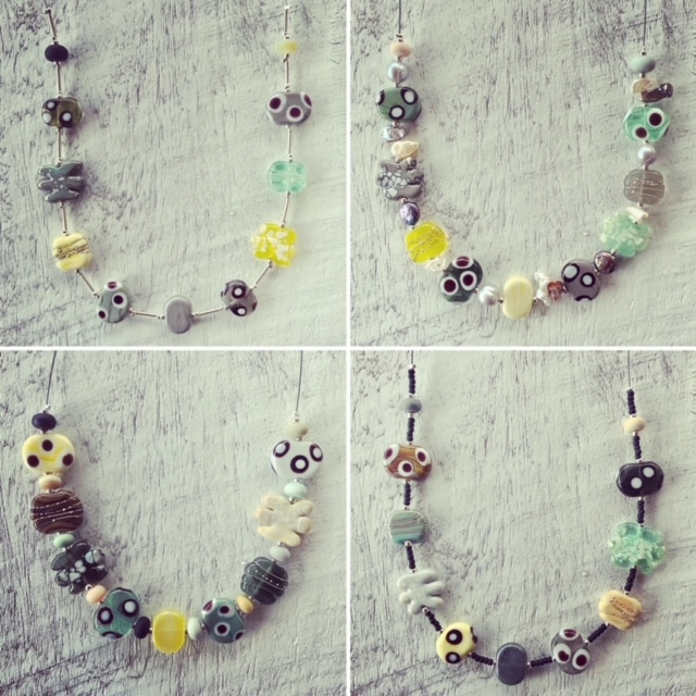 neutral earthy glass bead necklace