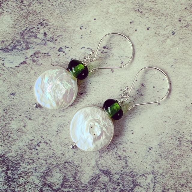 pearl and moet champagne earrings